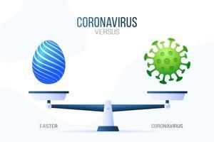 coronavírus ou ilustração em vetor feliz Páscoa. conceito criativo de escalas e versus, de um lado da escala está um vírus covid-19 e, do outro, o ícone de ovo de páscoa. ilustração vetorial plana.