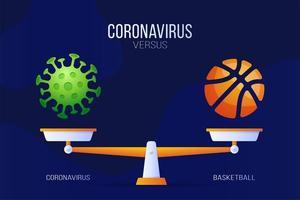 coronavírus ou ilustração vetorial de basquete. conceito criativo de escalas e versus, de um lado da escala encontra-se um vírus covid-19 e, do outro, o ícone da bola de basquete. ilustração vetorial plana.