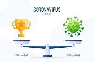 ilustração em vetor coronavírus ou copo vencedor. conceito criativo de escalas e versus, de um lado da escala está o vírus covid-19 e, do outro, o ícone da taça de ouro. ilustração vetorial plana.