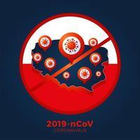polônia bandeira mapa isométrico sinal cautela coronavirus. parar o surto de ncov de 2019 perigo de coronavírus e risco de saúde pública, doença e surto de gripe. conceito médico pandêmico. ilustração vetorial.