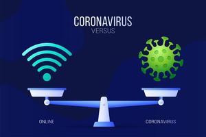 coronavírus ou ilustração vetorial online. conceito criativo de escalas e versus, de um lado da escala está um vírus covid-19 e, do outro, o ícone de wifi. ilustração vetorial plana.