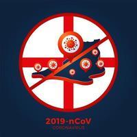 inglaterra bandeira isométrica mapa sinal cautela coronavirus. parar o surto de ncov de 2019 perigo de coronavírus e risco de saúde pública, doença e surto de gripe. conceito médico pandêmico. ilustração vetorial.