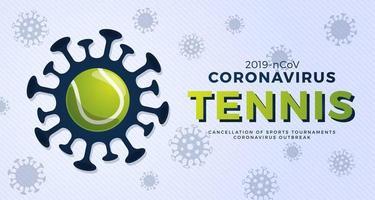 tênis vetor bandeira cautela coronavirus. parar o surto de ncov de 2019 perigo de coronavírus e risco de saúde pública, doença e surto de gripe. cancelamento de eventos esportivos e conceito de partidas