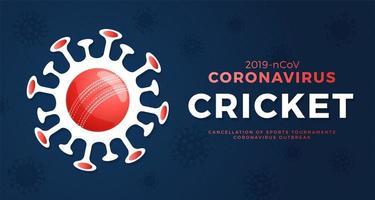 cricket vector banner cautela coronavirus. parar o surto de ncov de 2019 perigo de coronavírus e risco de saúde pública, doença e surto de gripe. cancelamento de eventos esportivos e conceito de partidas