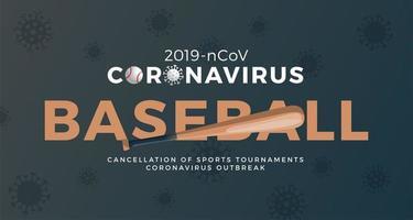 beisebol vetor bandeira cautela coronavirus. parar o surto de ncov de 2019 perigo de coronavírus e risco de saúde pública, doença e surto de gripe. cancelamento de eventos esportivos e conceito de partidas