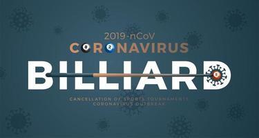 vetor de bilhar bandeira cautela coronavirus. parar o surto de ncov de 2019 perigo de coronavírus e risco de saúde pública, doença e surto de gripe. cancelamento de eventos esportivos e conceito de partidas