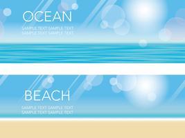 Um conjunto de duas ilustrações de fundo de verão vetorial sem costura com praia arenosa, céu azul e oceano. vetor
