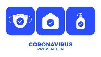 prevenção de covid-19 em uma ilustração em vetor cartaz ícone. panfleto de proteção de coronavírus com conjunto de ícones brancos. fique em casa, use máscara facial, use desinfetante para as mãos