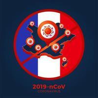 França bandeira isométrica mapa sinal cautela coronavirus. parar o surto de ncov de 2019 perigo de coronavírus e risco de saúde pública, doença e surto de gripe. conceito médico pandêmico. ilustração vetorial.