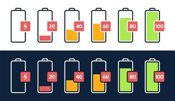 ícone de nível de energia. carga de carga, indicador de bateria do telefone, nível de energia do smartphone, conjunto de ícones de status vazio e cheio de energia do acumulador. estágios de recarga do gadget. carregando porcentagem de energia vetor