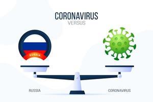 coronavírus ou ilustração vetorial de Rússia. conceito criativo de escalas e versus, de um lado da escala está o vírus covid-19 e, do outro, o ícone da bandeira da Rússia. ilustração vetorial plana.