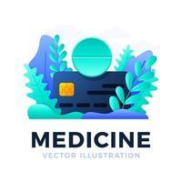 comprimido de medicamento com ilustração de estoque vetorial de cartão de crédito isolada em um fundo branco. o conceito de conceito de pagamento de medicamentos com cartão. lado frontal do cartão com texto vetor