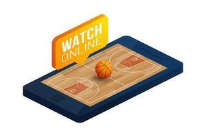 basquete on-line conceito vector ilustração isométrica plana. conceito de vetor isométrico plana cesta online.