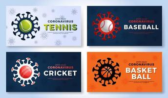 conjunto de coronavírus de cautela de bandeira de vetor de esporte. tênis, beisebol, críquete, parada de basquete covid-19 surto. cancelamento de eventos esportivos e conceito de partidas