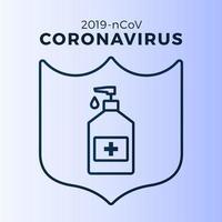 sabonete ou gel desinfetante e escudo usando antibacteriano, ícone de vírus, higiene, ilustração médica. proteção do coronavírus covid-19 vetor
