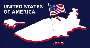isométrica bandeira nacional dos EUA. ilustração do ícone da bandeira americana. vetor