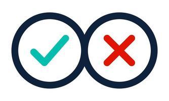 ícones de marca de seleção de linha fina. tiquetaque verde e conjunto de ícones de linha plana de marcas de seleção da cruz vermelha. ilustração vetorial isolada no fundo branco