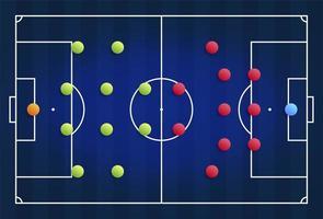 um campo de futebol cibernético azul com um esquema tático da disposição dos jogadores de dois times de futebol no tabuleiro, organização de um diagrama de jogo para um treinador da liga fantasia