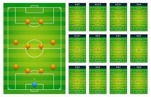 melhor tabela de tática de campos verdes de futebol de futebol popular para jogadores técnicos, conceito de conjunto de jogos. planejando o próximo jogo de esquemas. ícones de ilustração vetorial plana moderna. isolado no branco