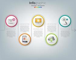 ícones e vetor de design de infográfico podem ser usados para layout de fluxo de trabalho, diagrama, relatório, design de web. conceito de negócio com opções, etapas ou processos.