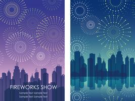 Um conjunto de duas ilustrações de fundo dos fogos de artifício do vetor com paisagens urbanas.