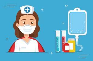 super enfermeira com capa de heroína e ícones médicos