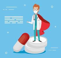 super médico com capa de herói e remédio vetor