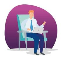 empresário sentado na cadeira com laptop vetor