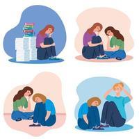 mulher com conjunto de ícones de estresse e depressão vetor