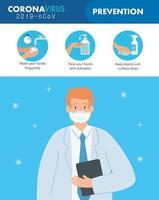 banner de prevenção de coronavírus com médico vetor