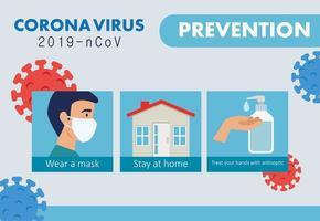 banner de prevenção de coronavírus vetor