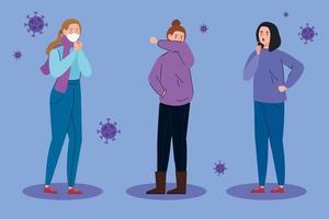 mulheres com sintomas de coronavírus