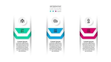 três designs de etiqueta de infográfico numerados