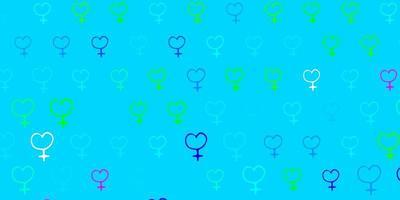 padrão de vetor azul claro e verde com elementos do feminismo.