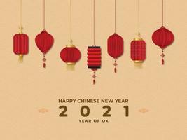 feliz ano novo 2021 ano do boi vetor