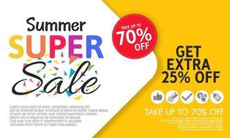 modelo de banner super venda de verão na cor de fundo. vetor