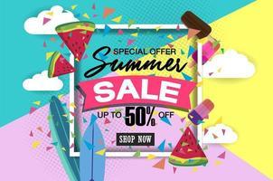 modelo de banner super venda de verão na cor de fundo.