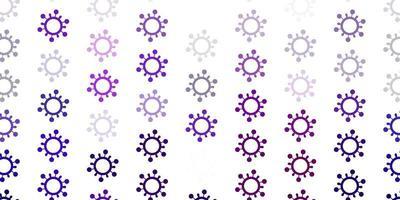 padrão de vetor roxo claro com elementos de coronavírus
