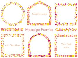 Um conjunto de seis quadros variados de mensagem em mosaico de vetores em cores de outono.