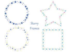 Um conjunto de quatro quadros assorted com vários padrões de estrelas. vetor