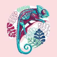 ilustração vetorial camaleão exótico