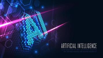 design da página de destino hexágono AI
