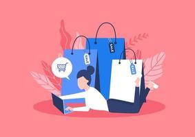 conceito de compras online com sacolas