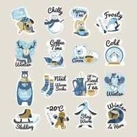 adesivos de inverno com frases para o natal vetor