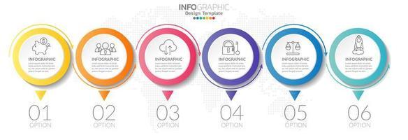 infográficos da linha do tempo com ícones de etapa e marketing vetor