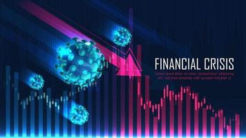 crise financeira global do conceito gráfico de pandemia de vírus vetor
