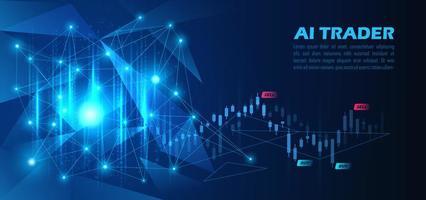gráfico de ações de negociação de inteligência artificial