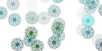 modelo de doodle de vetor azul e verde claro com flores.