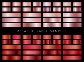 Um conjunto de amostras de rótulos metálicos variados.