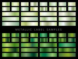 Um conjunto de várias amostras de rótulos metálicos. vetor